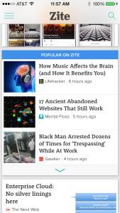 Popular On Zite on iPhone